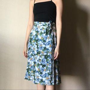 Floral wrap midi skirt